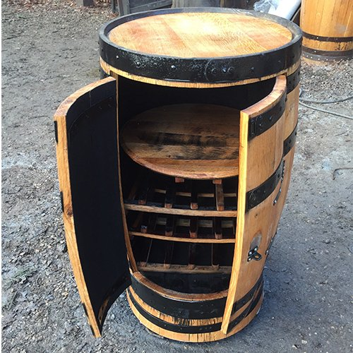 Recycled Solid Oak Whisky Barrel Collector Drinks Cabinet